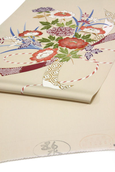 染名古屋帯、象牙色に手綱花模様 (NO.1480)