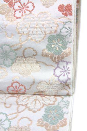 九寸名古屋帯、白地花蔦柄 (NO.1594)